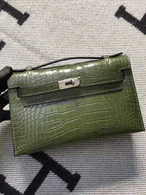 Top hermes genuine 100% crocodile leather handmade mini kelly clutch K220 green