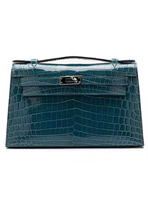 Top hermes genuine 100% crocodile leather handmade mini kelly clutch K220 lake blue