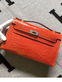 Top hermes genuine 100% crocodile leather handmade mini kelly clutch K220 orange