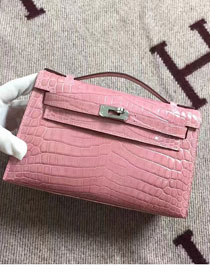 Top hermes genuine 100% crocodile leather handmade mini kelly clutch K220 pink
