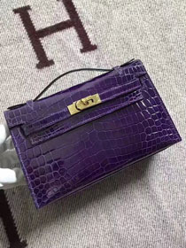 Top hermes genuine 100% crocodile leather handmade mini kelly clutch K220 purple