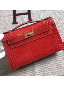 Top hermes genuine 100% crocodile leather handmade mini kelly clutch K220 red