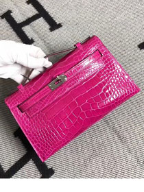 Top hermes genuine 100% crocodile leather handmade mini kelly clutch K220 rose red