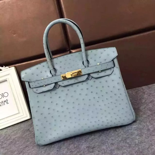 Top Hermes Genuine 100 Ostrich Leather Handmade Birkin 35 Bag K350 Light Blue