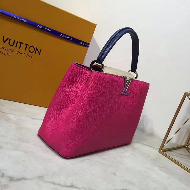 Louis vuitton original taurillon leather capucines mm M44814 rose red&purle