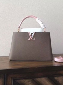 Louis vuitton original taurillon leather capucines pm M42245 gray&pink