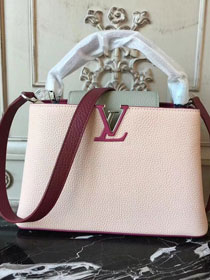 Louis vuitton original taurillon leather capucines pm M42245 pink&wine