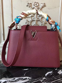 Louis vuitton original taurillon leather capucines pm M42245 wine