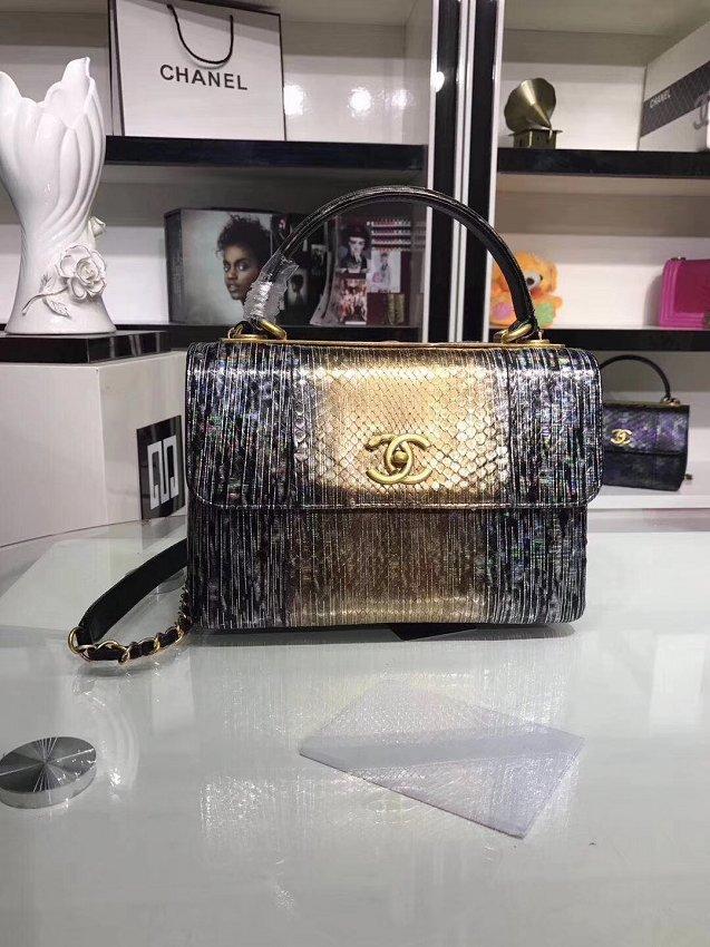 2bb09d2391b6 2018 CC original snakeskin top handle flap bag A92236 gold