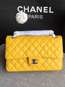 CC original lambskin leather double flap bag A1112 yellow