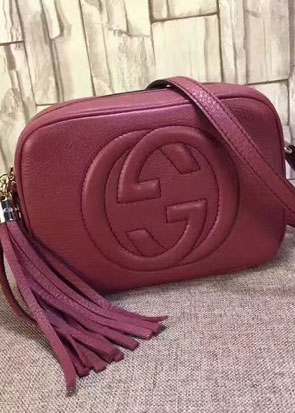 GG original calfskin leather shoulder bag 308364 wine red