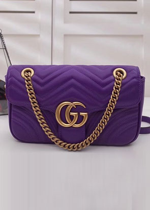 2018 GG Marmont original matelasse leather medium shoulder bag 443496 purple