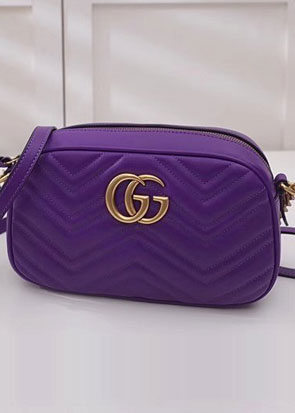 2018 GG marmont original calfskin small shoulder bag 447632 purple