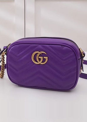 2018 GG marmont matelasse calfskin mini bag 448065 purple