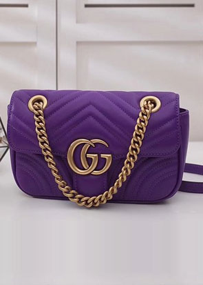 2018 GG marmont original small matelasse leather shoulder bag 443497 purple