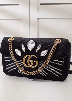 2018 GG marmont original velvet small shoulder bag 443497 black