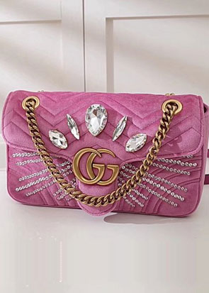2018 GG marmont original velvet small shoulder bag 443497 pink