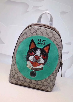 2018 GG soft supreme cat print backpack 495621 green