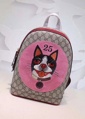 2018 GG soft supreme cat print backpack 495621 pink