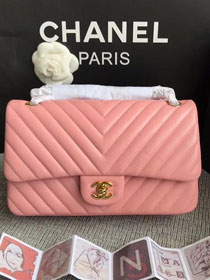 CC original lambskin medium double flap bag A1112-3 pink