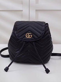 2018 GG marmont original matelasse leather backpack 528129 black