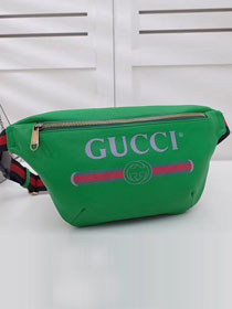 2018 GG original calfskin print belt bag 493869 green