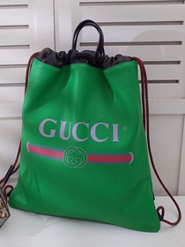 2018 GG original calfskin print large drawstring backpack 494053 green