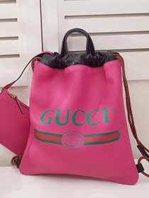 2018 GG original calfskin print large drawstring backpack 494053 rose red