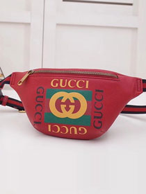 2018 GG original calfskin print small belt bag 527792 red