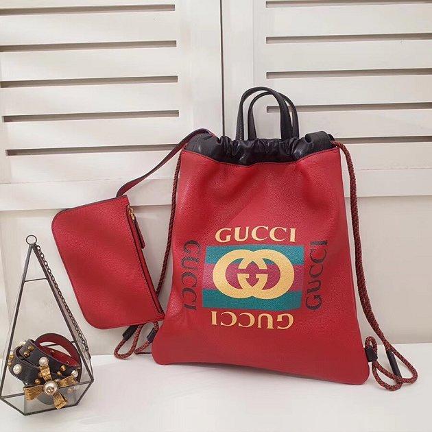 9799fb1fedfd 2018 GG original calfskin print small drawstring backpack 523586 red