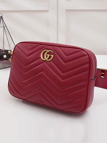 2018 GG original calfskin marmont matelasse belt bag 523380 wine red