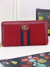GG original suede leather Ophidia zip around wallet 523154 red
