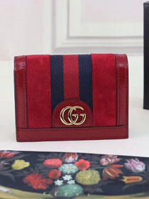 GG original suede leather Ophidia card case 523155 red