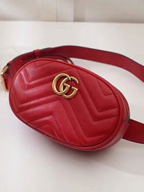 2018 GG Marmont matelasse leather belt bag 476434 red