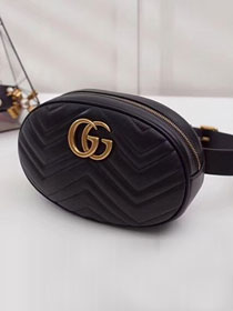 2018 GG Marmont matelasse leather large belt bag 491294 black