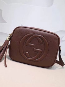 GG original calfskin leather shoulder bag 308364 brown