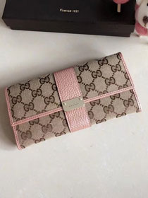 GG original canvas continental wallet 523153 pink
