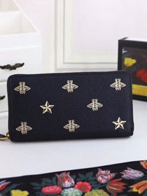 GG Bee Star leather zip around wallet 495062 black