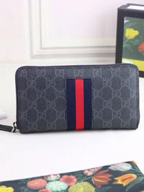 GG Supreme Web zip around wallet 408831 black