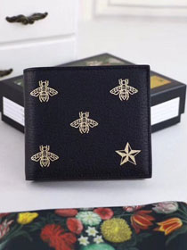 GG bee star leather bi-fold wallet 495055 black