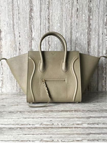 Celine original calfskin luggage phantom bag 9901-2 khaki