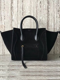 Celine original suede leather luggage phantom bag 9901-3 black