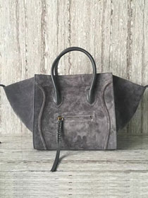 Celine original suede leather luggage phantom bag 9901-3 gray
