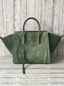 Celine original suede leather luggage phantom bag 9901-3 green