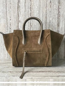 Celine original suede leather luggage phantom bag 9901-3 khaki