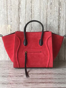 Celine original suede leather luggage phantom bag 9901-3 red