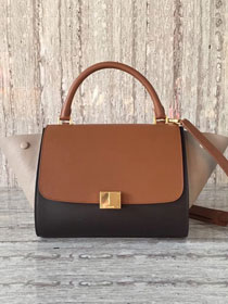 Celine original calfskin medium trapeze bag 18701 coffee&black&gray