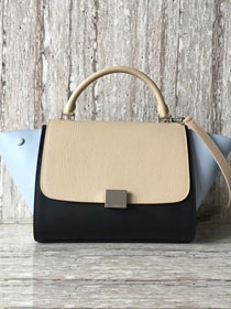 Celine original calfskin medium trapeze bag 18701 light blue&black&apricot