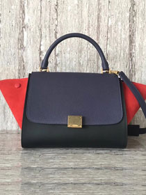 Celine original calfskin&suede medium trapeze bag 18701 navy blue&black&red
