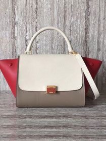 Celine original calfskin medium trapeze bag 18701 red&white&gray